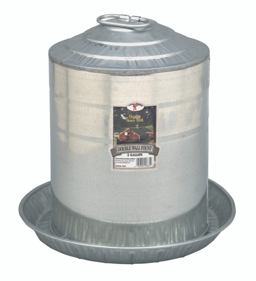5 Gallon Double Wall Metal Poultry Fount