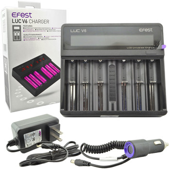 LUC V6 6-Bay Universal LCD Battery Charger by Efest | Efest LUC V6 6-Bay Battery Charger | Vape Chargers | Cheap Efest Vape Deals | Wholesale to the Public | Cheapest Vape Store Online | Vape | Vapor | Ecig | Ejuice | Eliquid | Efest Vape Chargers | Efest USA | ECIGMAFIA