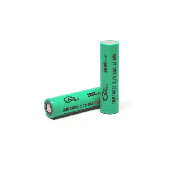 Imren (Green) IMR 18650 (2600mAh) 38A 3.7v Battery Flat-Top - (Pack of 2)