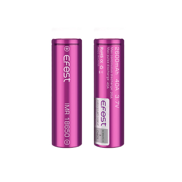 Efest 18650 2600mAh 40A IMR Battery (Pack of 2)