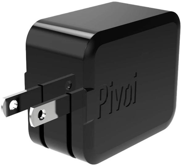 Pivoi 12W Dual USB Wall Charger, Black