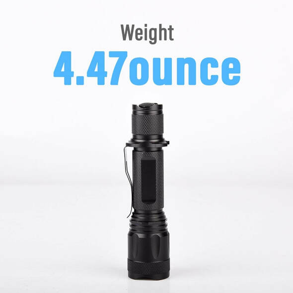 Pivoi 10W LED Tactical Rechargeable Flashlight with Clip, IP44 Water Resistant, Zoom focus, Metal body, 1000 Lumens - Uses 1x 18650 Battery