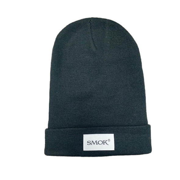 Smok Beanie Hat Black Knit Snow Hat