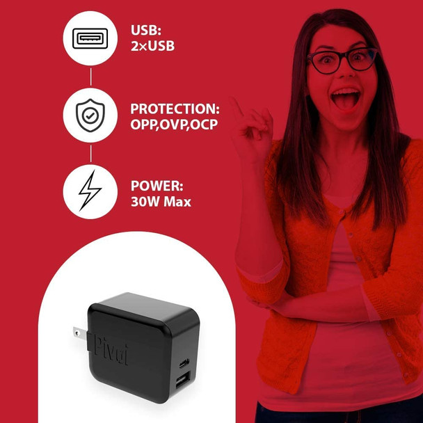 Pivoi 30W Type-C PD Wall Charger with Dual Port USB Charging Adapter