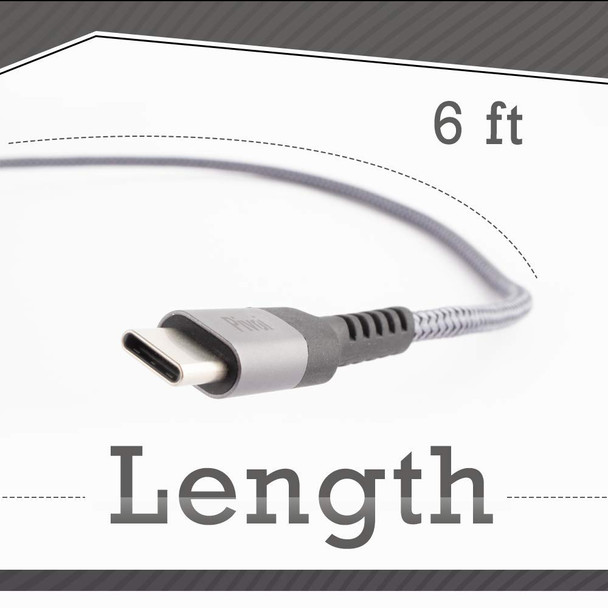 Pivoi USB 2.0 to Type-C Cable,6 FT,Grey (Pack of 1)
