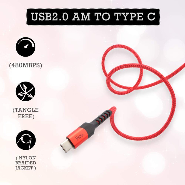 Pivoi USB 2.0 to Type-C Cable,6 FT,Red (Pack of 1)