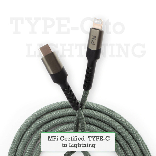 Pivoi Type-C to Lightning Cable [3.3FT Apple MFi Certified],Green (Pack of 1)