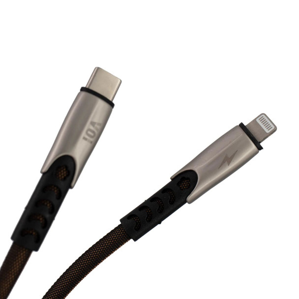 Pivoi USB-C(PD) to Lightning Charge & Sync Cable,6FT,Black (Pack of 1)