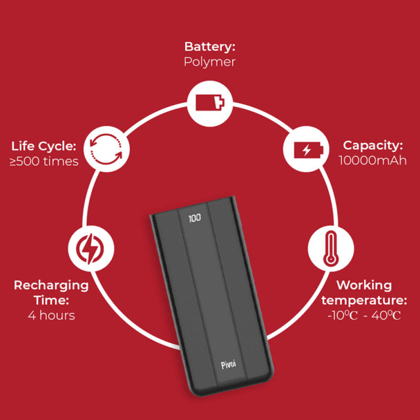 Pivoi 10000mAh Portable Charger with dual USB and PD Port