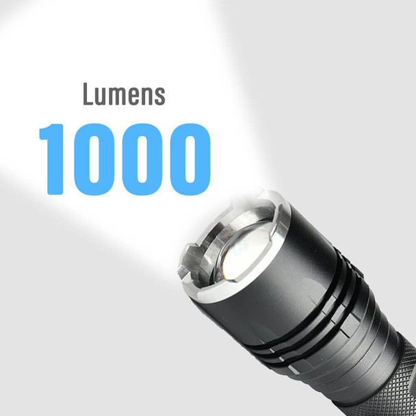 Pivoi 15W LED Tactical Flashlight, IP44 Water Resistant, Zoom focus, Metal body, 1000 Lumens - Uses 1x 18650 Battery