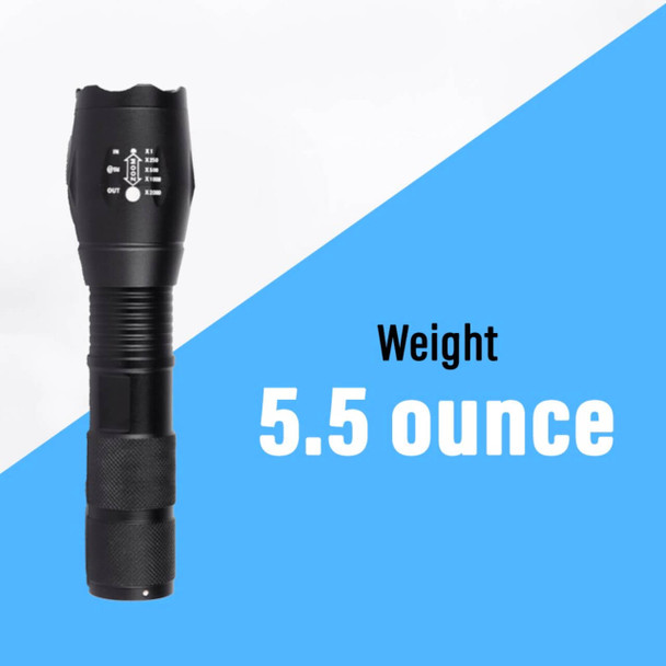 Pivoi 10W LED Tactical Flashlight, IP44 Water Resistant, Zoom focus, Metal body, 600 Lumens - Uses 1x 18650 or 3 x AAA Battery