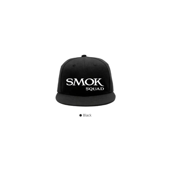 Smok Squad Hat Black Snap Back Hat With Smok Squad Logo in White