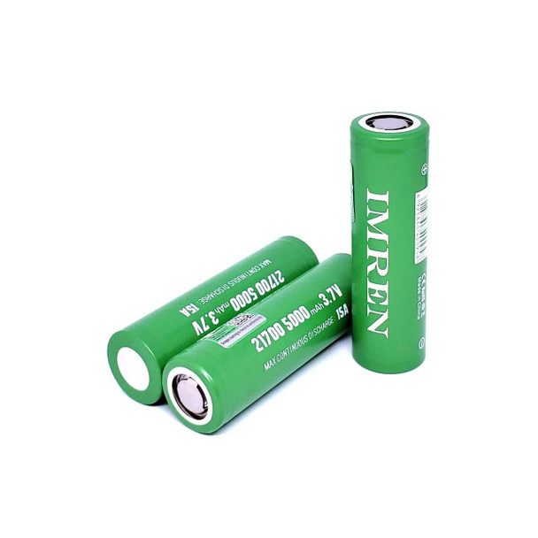 Imren (Gold) IMR 21700 (5000mAh) 15A 3.7v Battery Flat-Top - 2 Pack