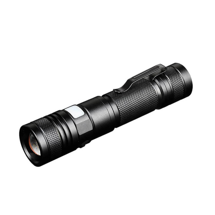 Pivoi 10W LED Tactical Rechargeable Flashlight with Clip, IP44 Water Resistant, Zoom focus, Metal body, 800 Lumens - Uses 1x 18650 Battery