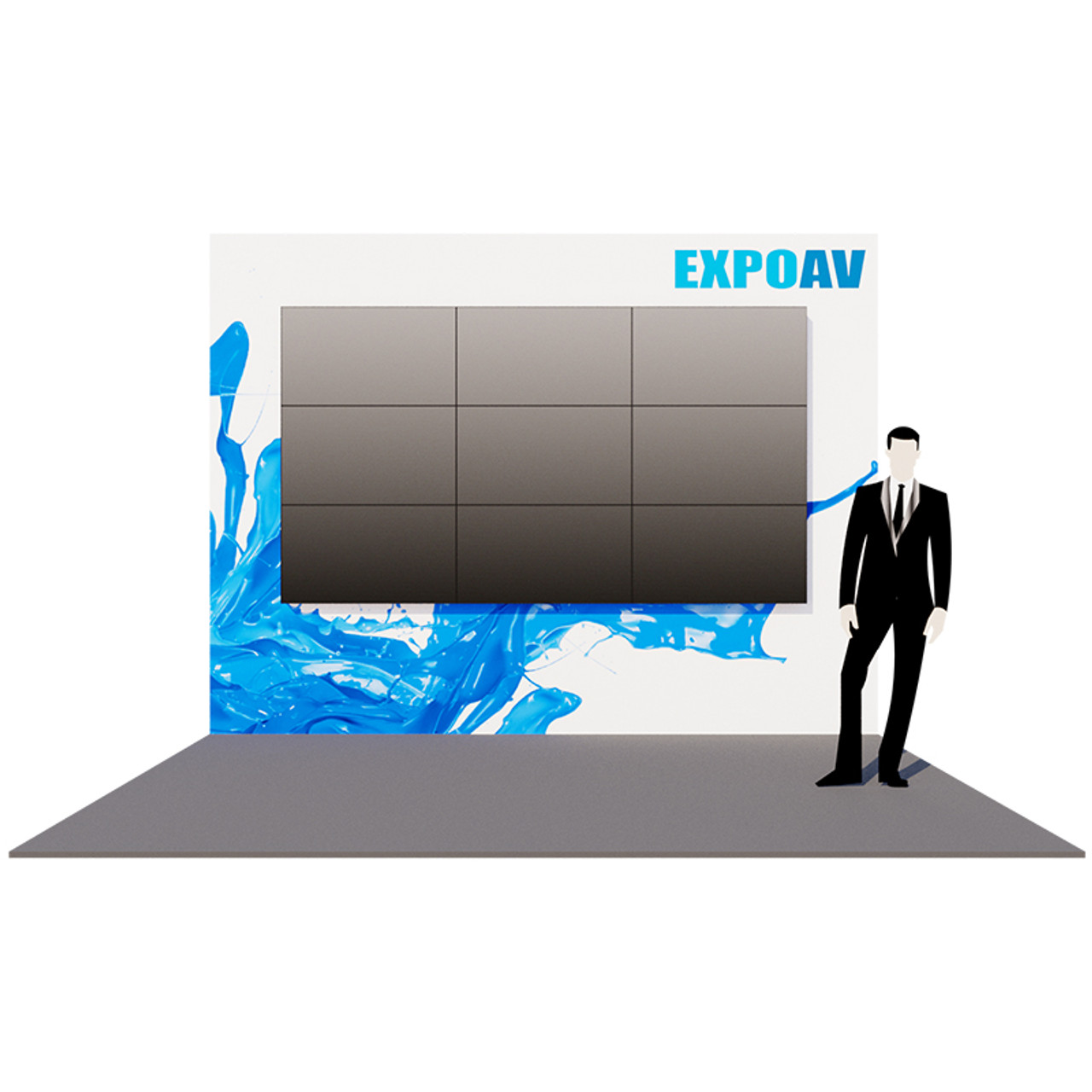 D Printing Exhibition Billingsgate : Indigo exhibition stand back wall expoav.rent is a london audio