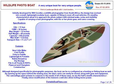 Wildlife Photo Boat Plans PDF