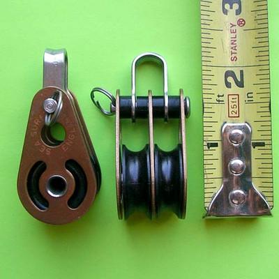 """1/4"""" (6mm) Bronze Double Block or Cheek Block"""