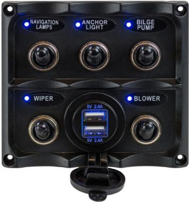 Toggle Switch Panel with USB Power Socket