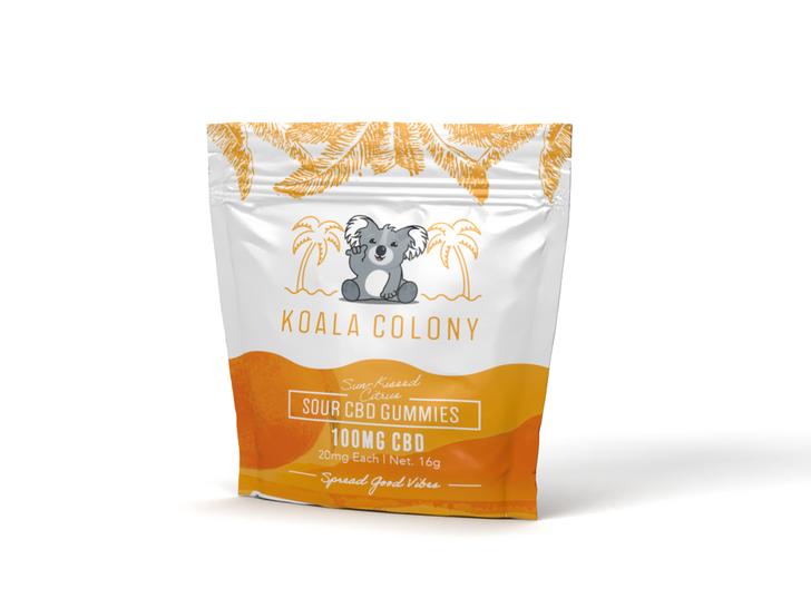 100mg Sour CBD Gummy Bears – Sun-kissed Orange