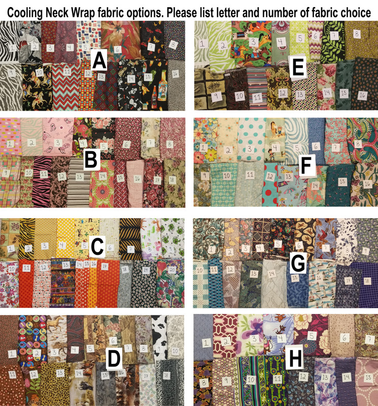 Cooling Neck Wrap options, choose a group letter and fabric number