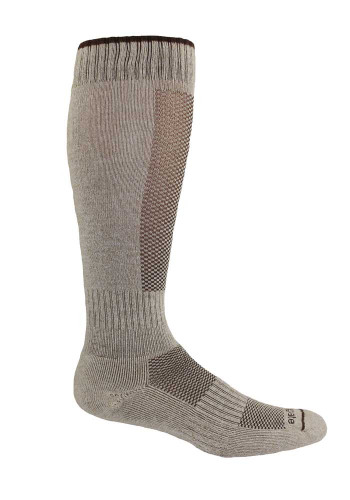 Alpacor® Yarn High-Calf Performance Socks in a neutral shade of beige.