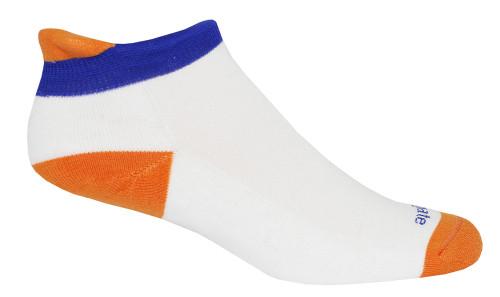 Soft Heel Tab Shorty Alpacor®  Performance Socks In White, Orange & Blue.