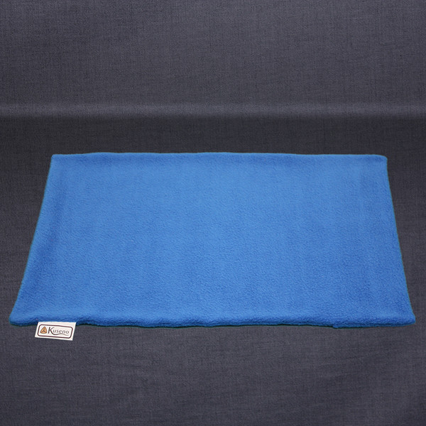 Empty royal blue Travel Pillow Fleece Cover. Sized slightly larger than 11 x 16 to make putting the travel pillow in easier.