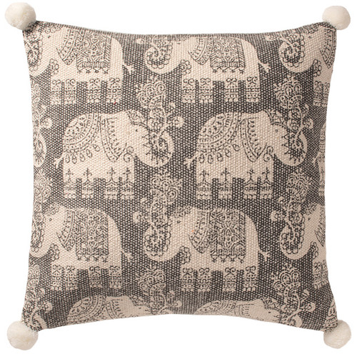 Cotton Elephant Print Cushion With Pom Poms
