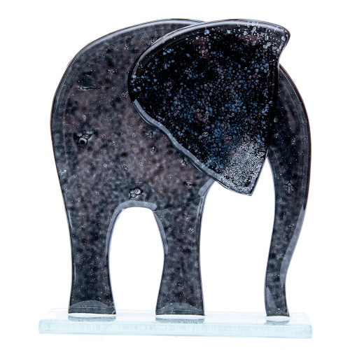 Black Elephant Glass Ornament