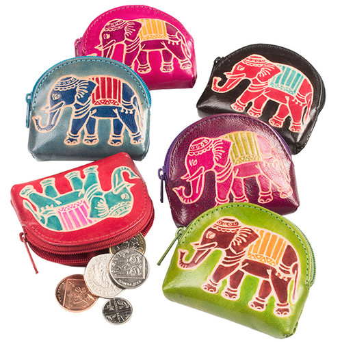 Small Leather Elephant Coin Pouch Assorted Colours
