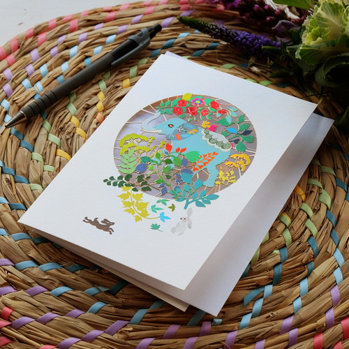 Elephant & Flowers Laser Cut Card