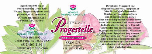 Progestelle contain USP Pharmaceutical Grade Natural Bioidentical Progesterone 800 mg, and 1 ounce of Fractionated Coconut Oil.