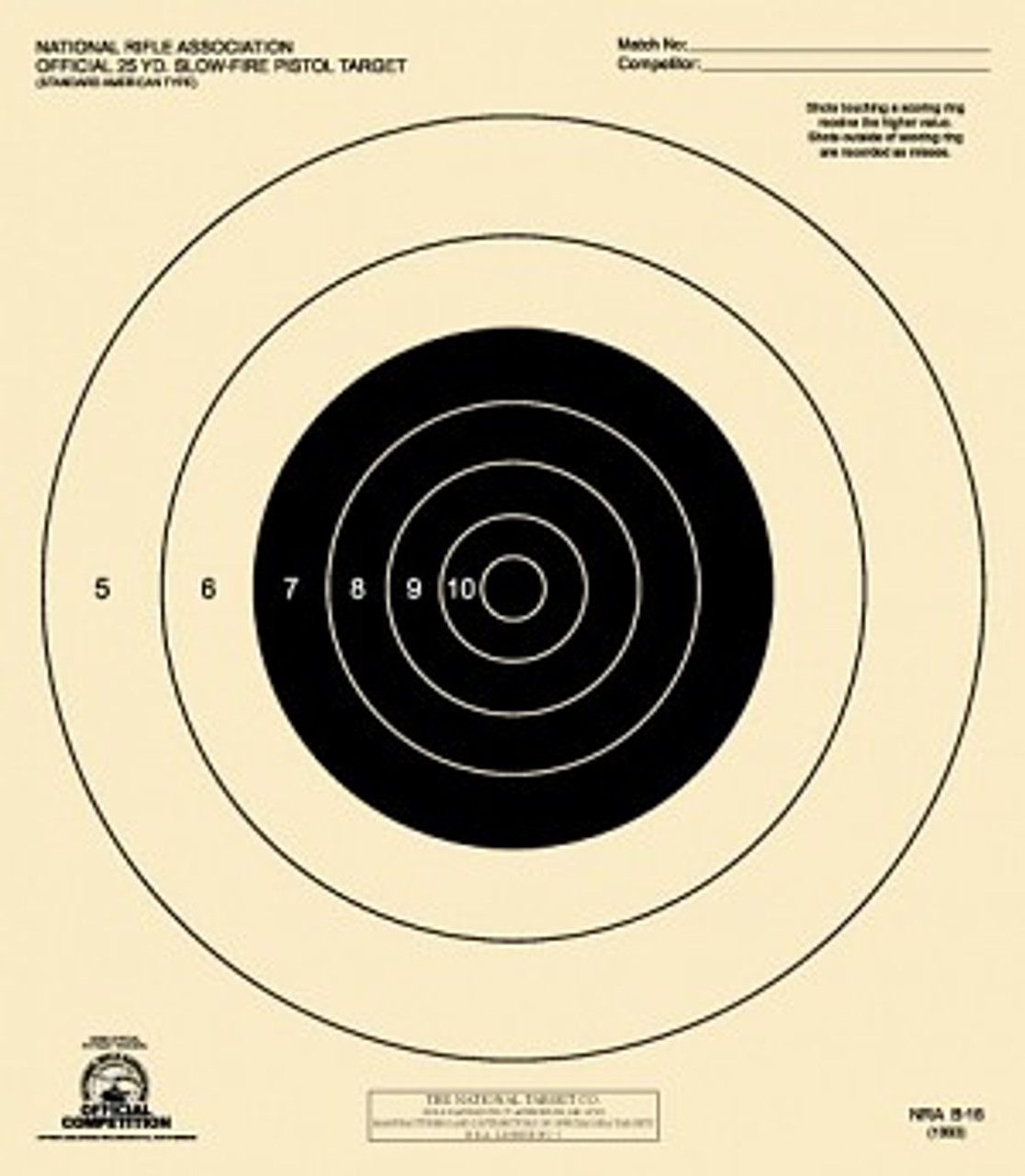 photo regarding Nra B-8 Target Printable known as B-16 - Formal NRA - Compeion Pistol Focus (100 Concentrate Pack)