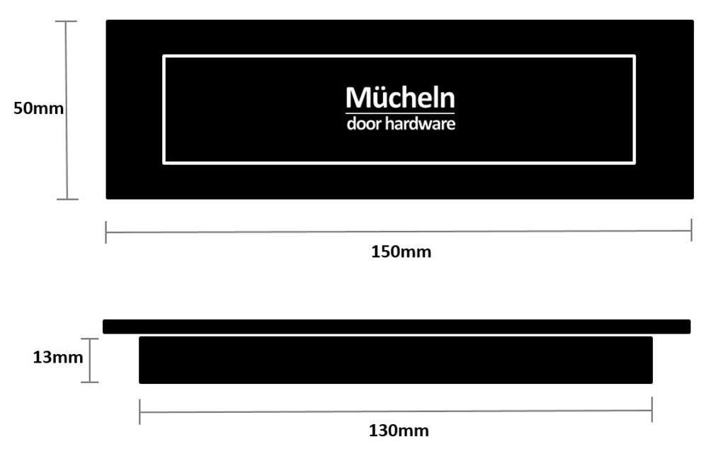 Matte Black FLUSH PULL Rectangle Handle  150mm
