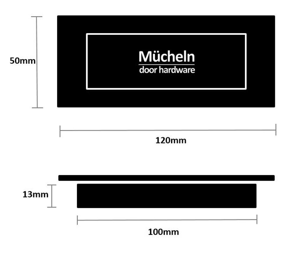 Black Flush Pull Handle 120mm Rectangle dimensions