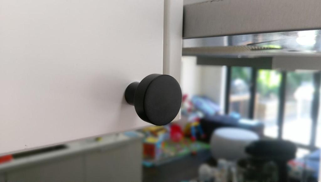 Matte black cupboard finger pull knob round