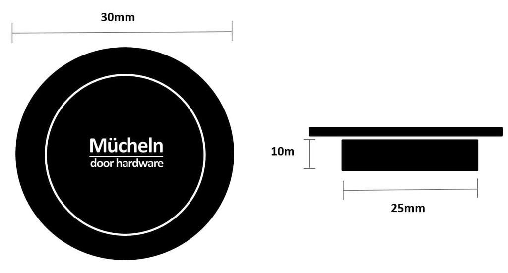black 30mm flush pull dimensions