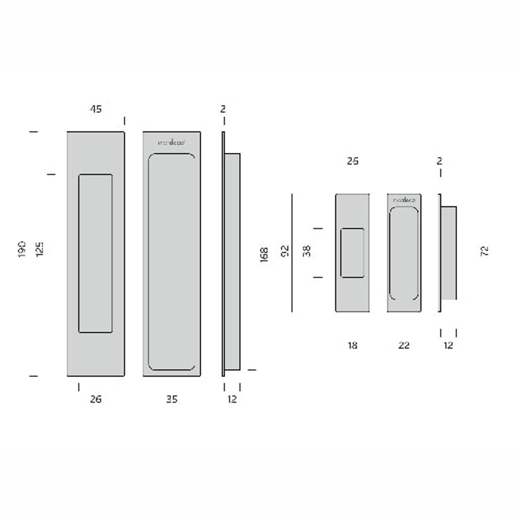 mardeco black sliding door handle set dimensions