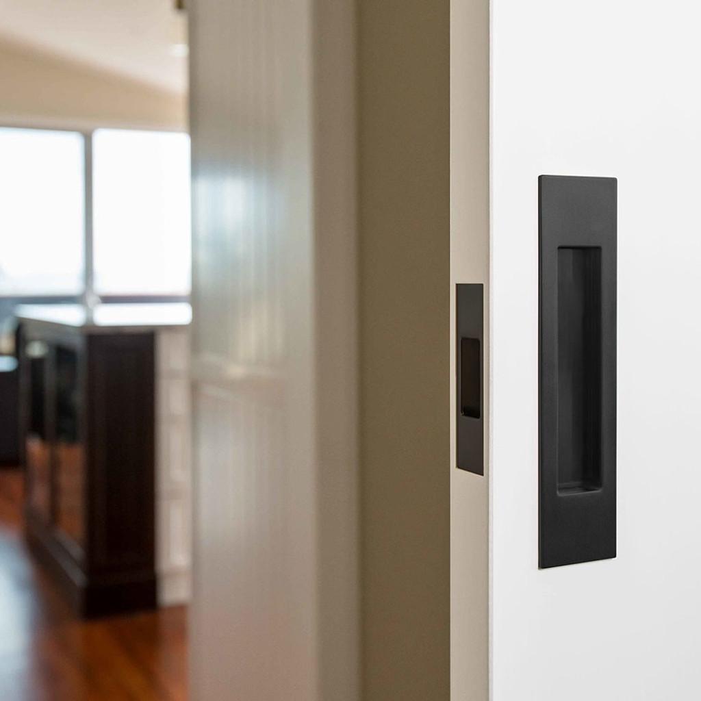 Mardeco Black Sliding Door Passage Set Hardware Box