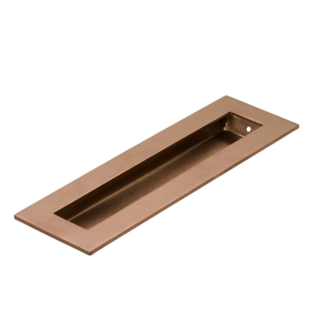 Brushed Copper 200mm flush door handle