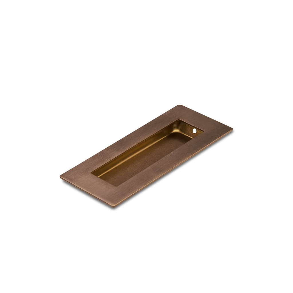 Brushed Copper Flush Pull Handle 120mm Rectangle