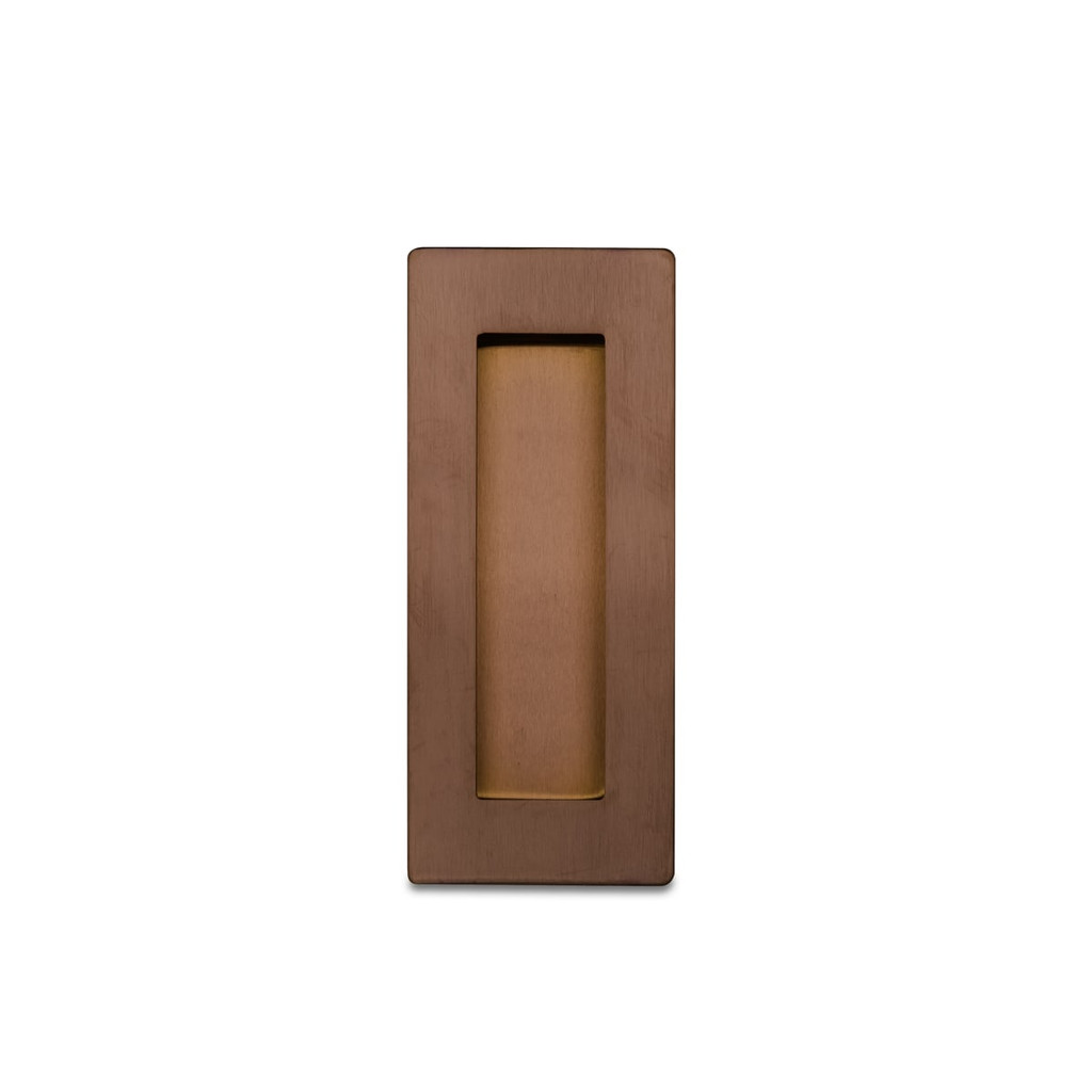 Brushed Copper Flush Pull Handle 120mm Rectangle top