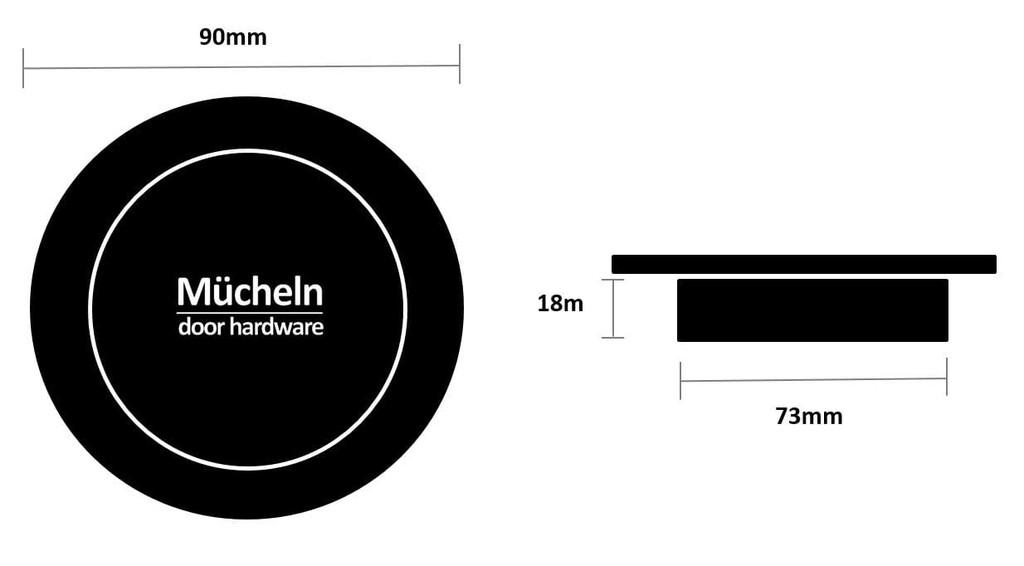 90mm flush round cupboard handle dimensions