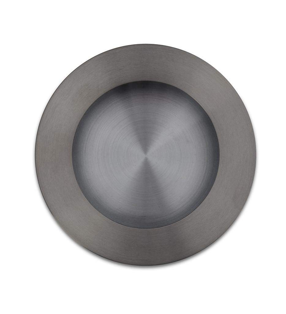 gunmetal grey flush round cupboard handle side top