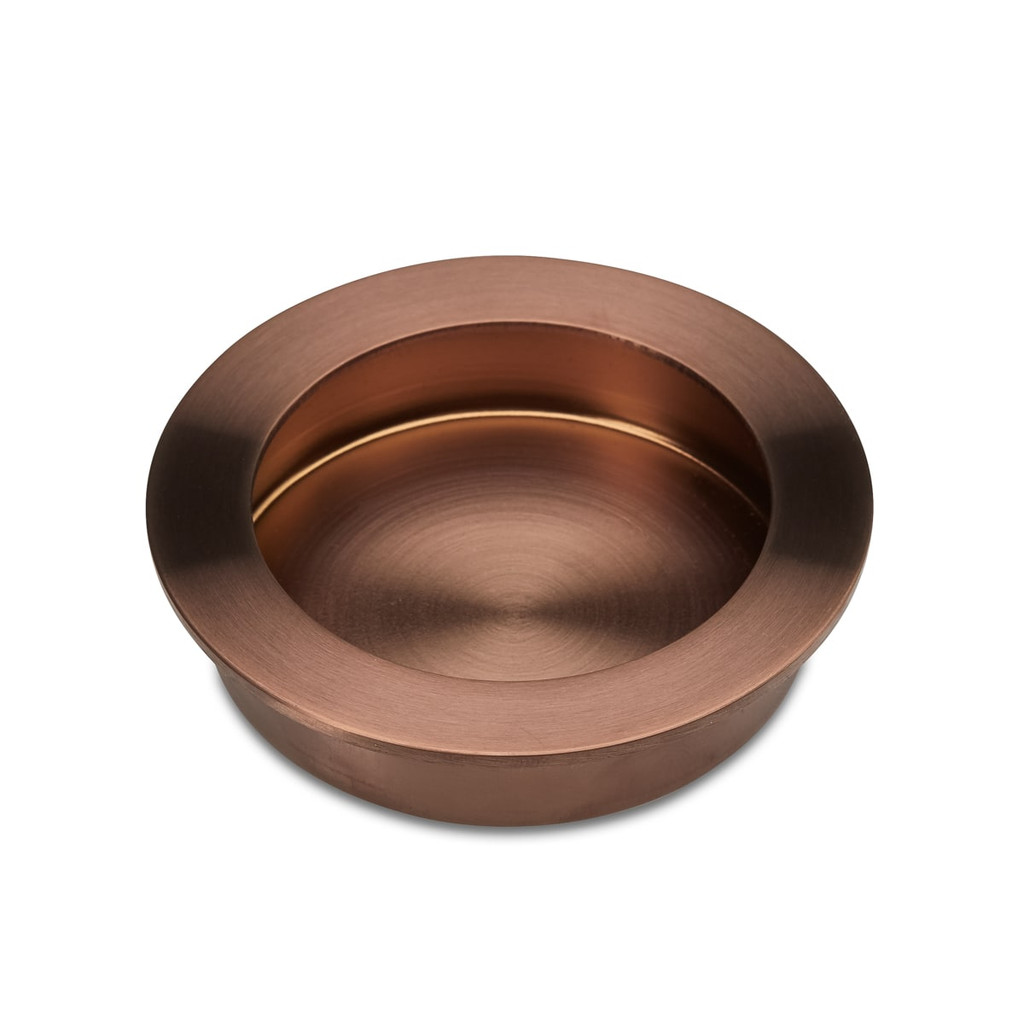 Brushed Copper Flush Pull Handle 70mm side