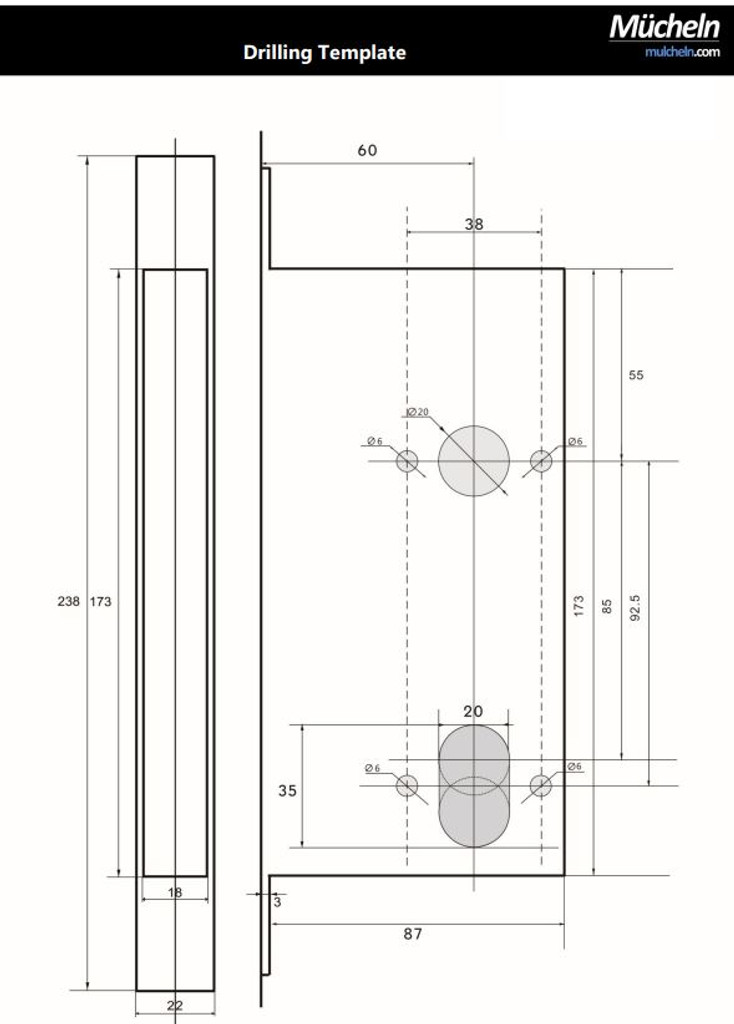 Mucheln Mortise Dimensions