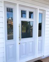 Brushed Brass Lock Set front door pull
