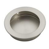 satin nickel 90mm flush round cupboard handle side