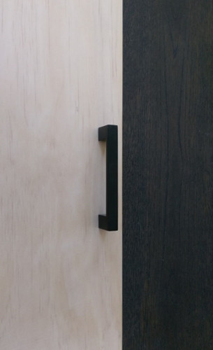 96mm matte black cupboard door handle timber