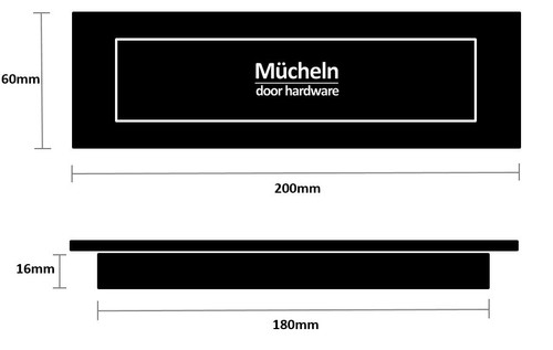 Black Flush Pull Handle 200mm Rectangle dimensions